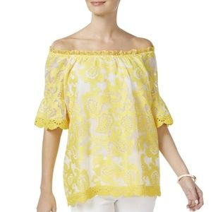 Charter Club Yellow Off-The-Shoulder Blouse 🥂